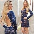 Mujeres se visten de Vestidos nuevo 2015 del o-cuello Backless sin tirantes Vestido de encaje Vestido Back Hollow Out Mesh Lace Stitching delgado Vestido W023