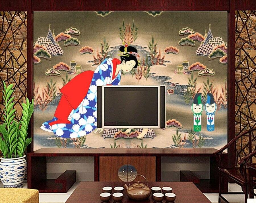 Grand papier peint 3d personnalisé, papier peint de Style japonais, chambre d'hôtel restaurant salle à manger tv canapé chambre murale papier peint de parede 3d