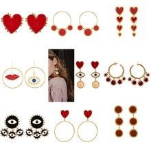 Дизайн женские массивные серьги женские металлические глаз золотого цвета сердце губы длинные висячие серьги модные вечерние ювелирные изделия