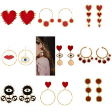 2020 New Design Lady Statement Earring Women Metal Gold Color Eye Heart Lips Long Dangle Drop Earrings Fashion Party Jewelry-in Drop Earrings from Jewelry & Accessories on AliExpress