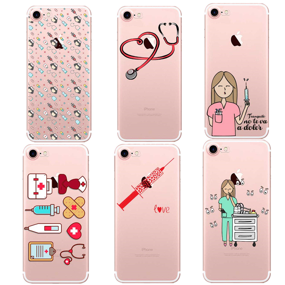 For Iphone X Xs Max Xr 7 8 Plus 6s 6plus 5 5s Cute Doctor Nurse Medical Medicine Health Heart Soft Tpu Phone Case Cover Fundas Cellphones & Telecommunications