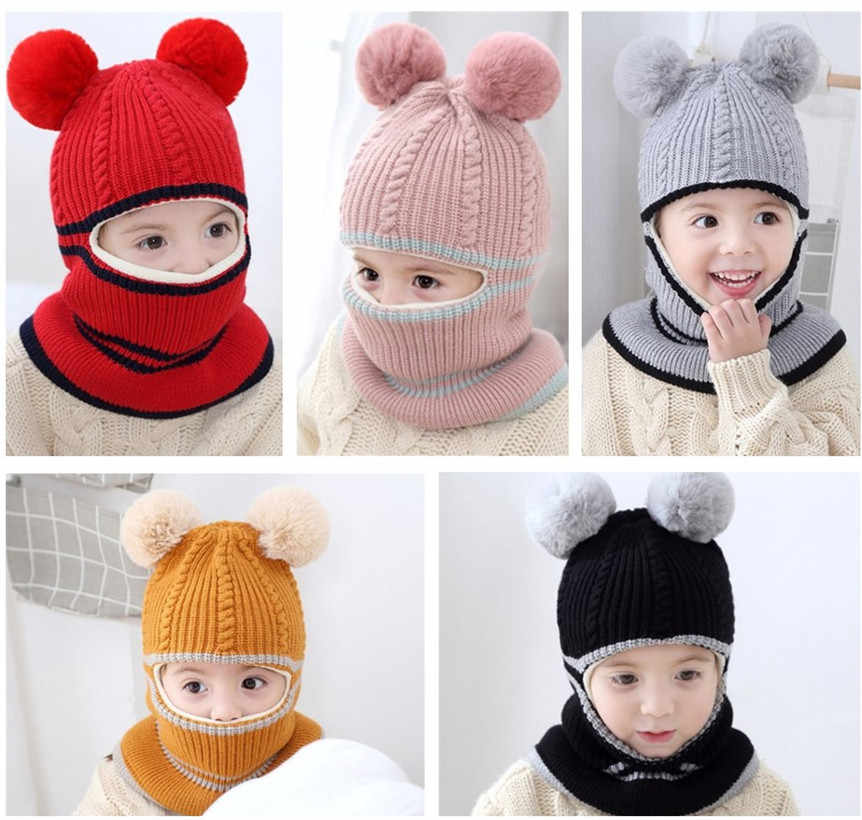... Yyun Children winter Balaclava Boys Girls Warm Soft Knit Beanie Scarf Toddler  Kids Pompom Face Mask ... 7beed6dc3e13