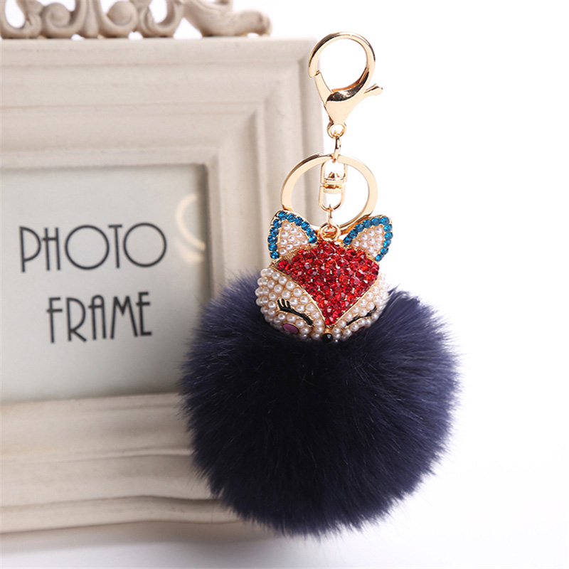 2017 New Artificial Rabbit Fur Ball Keychain Rhinestone Crystal Fox Head Pompon Trinket Key Chain Handbag Fluffy Key Ring Holder 8