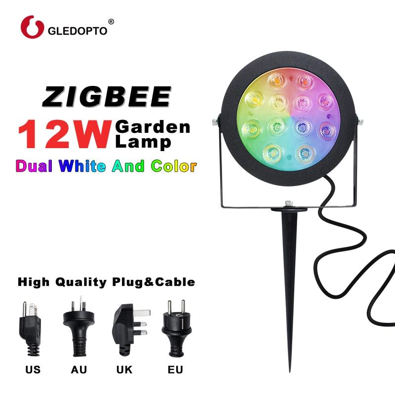 zigbee inteligente led jardim lampada 12 w rgb cct app controle trabalho com alexa ac100 240v