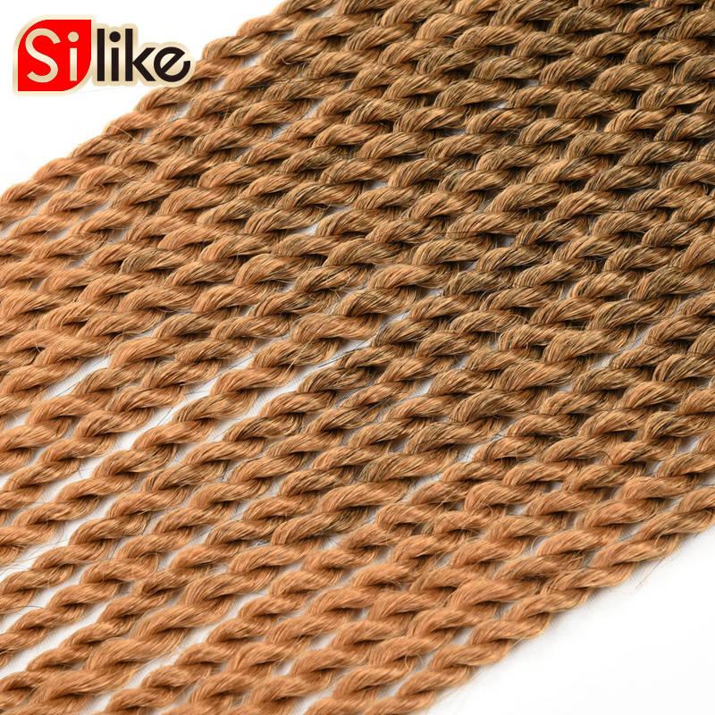Silike 22 ίντσες Ombre Brown Ροζ Crotchet Πένσες - Συνθετικά μαλλιά - Φωτογραφία 5