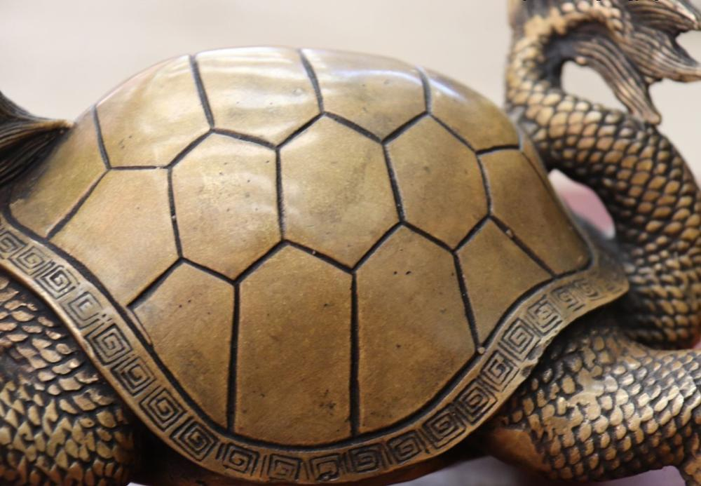 Chine FengShui Bronze cuivre richesse argent YuanBao Dragon tortue Statue - 5