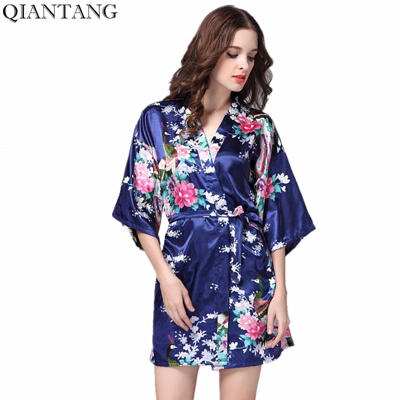 Plus Size Navy Blue Women's Night Robe Kimono Female Faux Silk Bath Gown Summer Sleepwear Peafowl Size S M L XL XXL XXXL Srj01