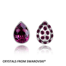 Top quality! Hot Charming Crystal stud earrings With Crystals From Swarovski for Valentine's Day gift wholesale jewelry factory(China)