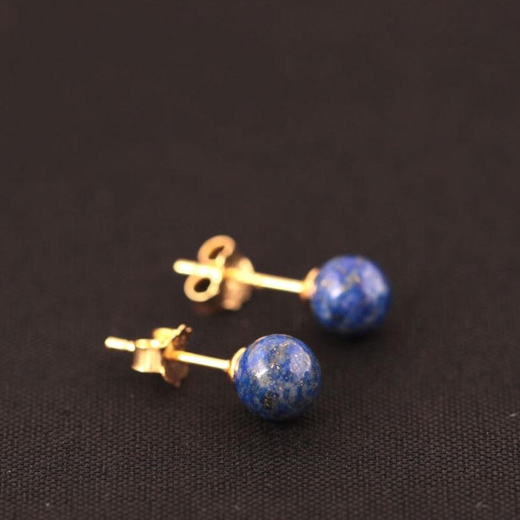 Plata de ley 925 Lapis Lazuli Beads Stud Pendientes para las mujeres Estilo simple Señora Regalo Previene la alergia de plata de ley-joyería