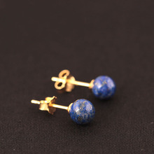 925 Sterling Silver Lapis Lazuli Beads Stud Earrings For Women Simple Style Lady Gift Prevent Allergy Sterling-silver-jewelry