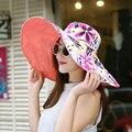 2016 Verão grande aba do chapéu de praia chapéus de sol para as mulheres óculos de proteção UV mulheres bonés chapéu com grande cabeça dobrável estilo de moda da senhora sol chapéu