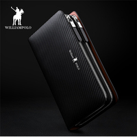 WILLIAMPOLO 2018 Luxury Business Solid Double Zipper Men Genuine Leather Handbag Cowhide Long Men Clutch Bag Wallet PL170
