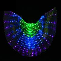 Colorful Led Wings Adult Belly Dance Stage Performance Props Dancing Luminous Wings Light Cloak Led Wings Costumes 360 Degrees