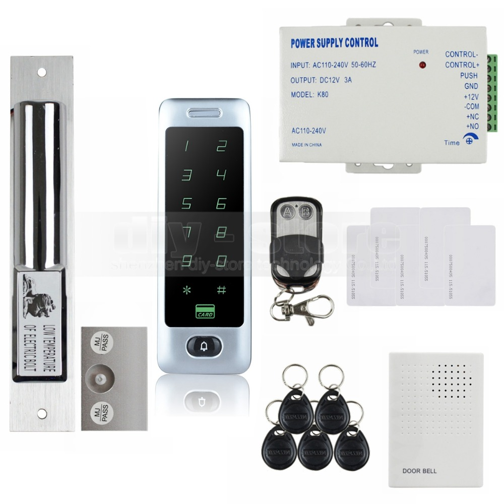 DIYSECUR Electric Bolt Lock 125KHz RFID Reader Password Keypad Remote Control Door Access Control Security System Kit C40 raykube glass door access control kit electric bolt lock touch metal rfid reader access control keypad frameless glass door