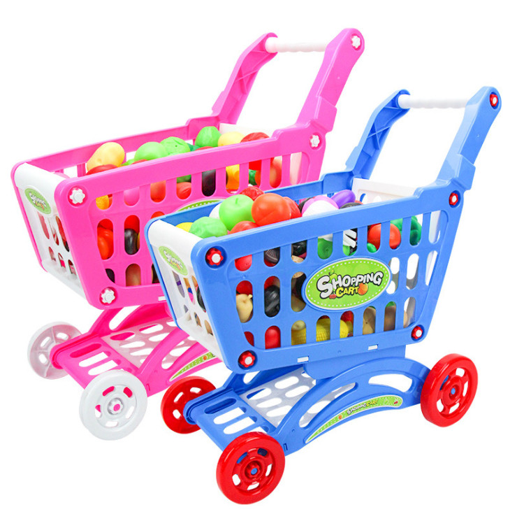 31CM Mini Shopping Cart Toys for Children with Full Grocery Food Toy Pretend Play Set Educational Kids Fun Toy hand throwing kids mini play parachute toy soldier outdoor sports children s educational toys free shipping