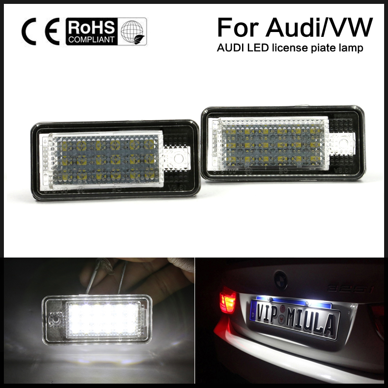 2pcs direct  license plate light  fit  Error Free LED White Lamp For Audi A3/S3/A4/S4/A6/A8/Q7 (Fits: Audi) 2 pcs led license plate light no error 3528 smd lamp for audi a3 s3 a4 s4 b6 a6 c6 a8 s8 rs4 rs6