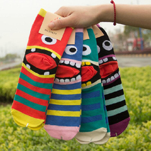 New Women Socks Korea Cartoon Big Mouth Print Funny Sock Short Ankle Cotton Socks 2016 Fashion Women's Clothing Free Shipping