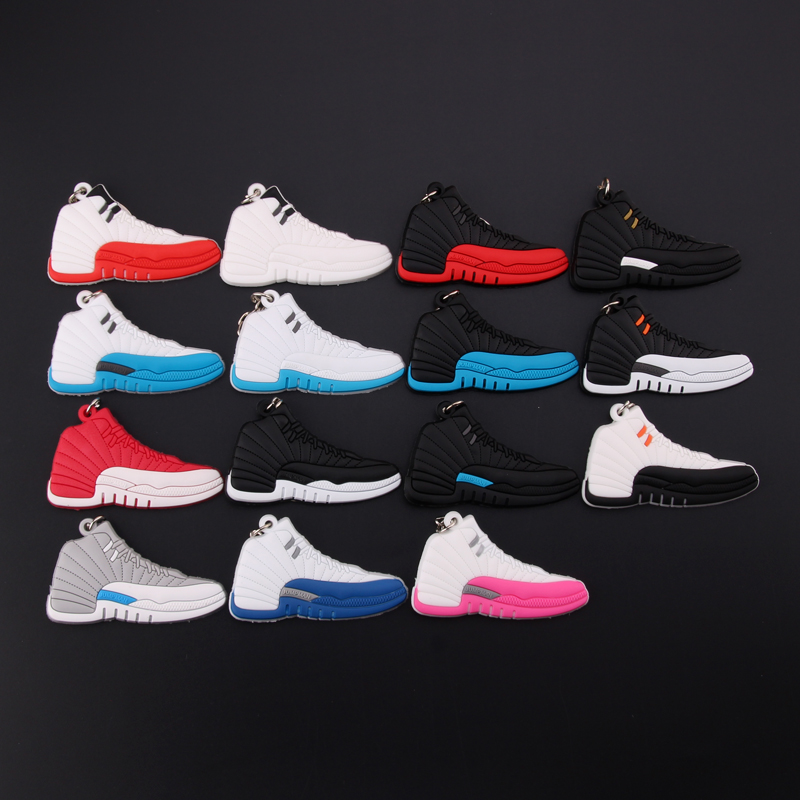 New Mini Jordan 12 Keychain Shoe Men Wome Kids Key Ring Gift Basketball Sneaker Key Chain Key Holder Porte Clef