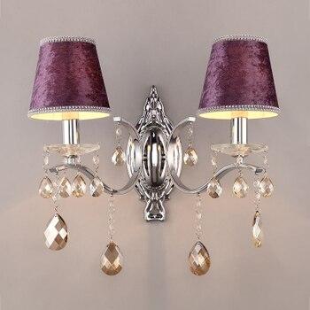 Nordic crystal wall lamp bedside one head/2 heads lint lampshade chrome metal wall light fixture e14 base AC100-240V