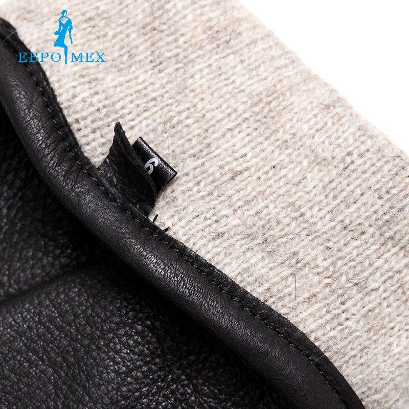 Guantes de cuero genuino de lujo guantes de cuero de moda para hombre, guantes de invierno populares para hombre, guantes de hombre, diseño negro a presión - 6