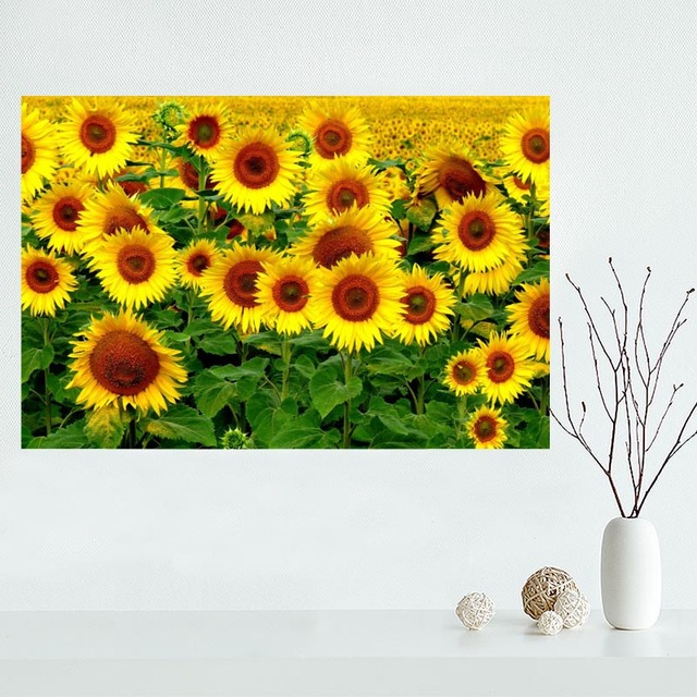 Custom Sunflower Canvas Painting Poster Cloth Silk Fabric Wall Art Poster  For Living Room Home Decor