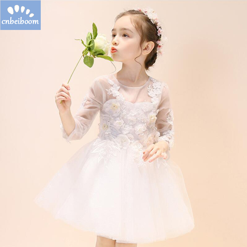 Lace Baby Girl Wedding White Flowers Dress Infant Princess Little Girls Birthday Party Dress Long Sleeve Children 3-12T Gowns half sleeve toddler girls show performance lace flowers white christening noble wedding princess bowknot party formal dress