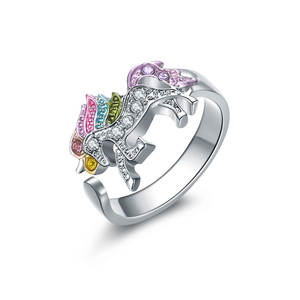 Unicorn Ring Jewelry Crystal Adjustable Women Alloy for Cartoon Cute