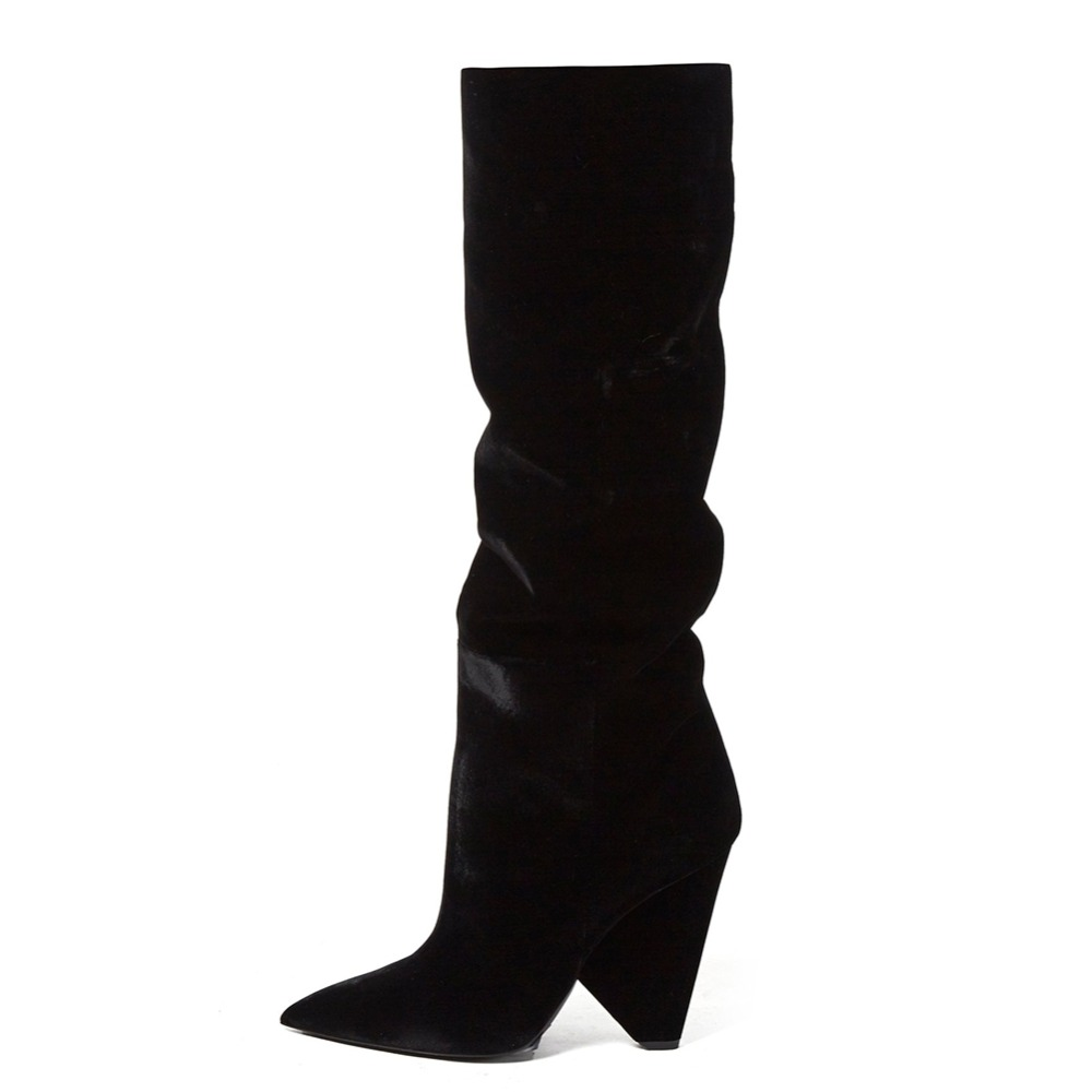 black velvet cone wedge heel over the knee high boots (1)