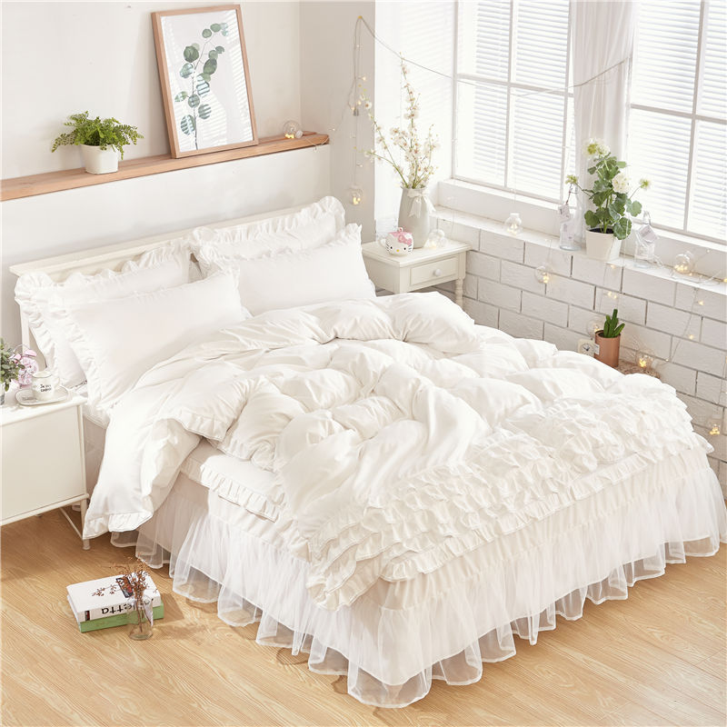 new luxury white bedding sets for kids girls queen twin king size duvet cover lace bed skirt set pillowcase wedding bedclothes