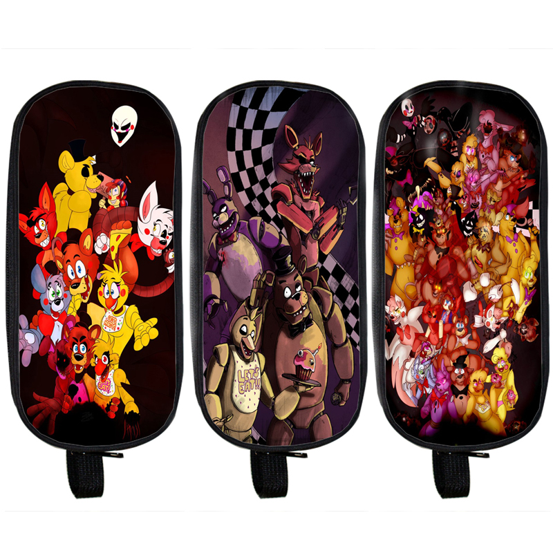Anime Five Nights At Freddy Pencil Holder Boys Girls School Case Bag Five Nights At Freddys Kids Cases Material Escolar Lapices multifunction cosmetic cases women make up bag punk skull print kids boys pencil pen bag for school boys girls stationary holder