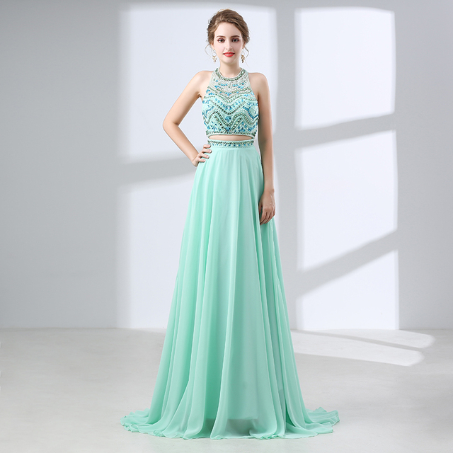 Mint Green Beaded Evening Dresses 2018 Rhinestone Two Pieces Long ...