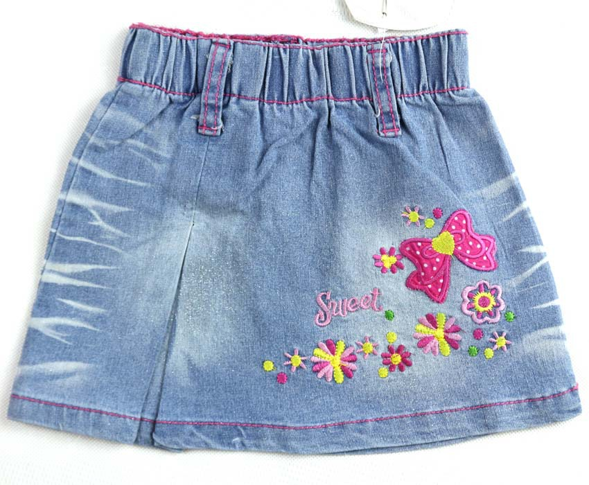 2 6Y Girls Light Blue Denim Skirts Baby Floral Bows And -6417