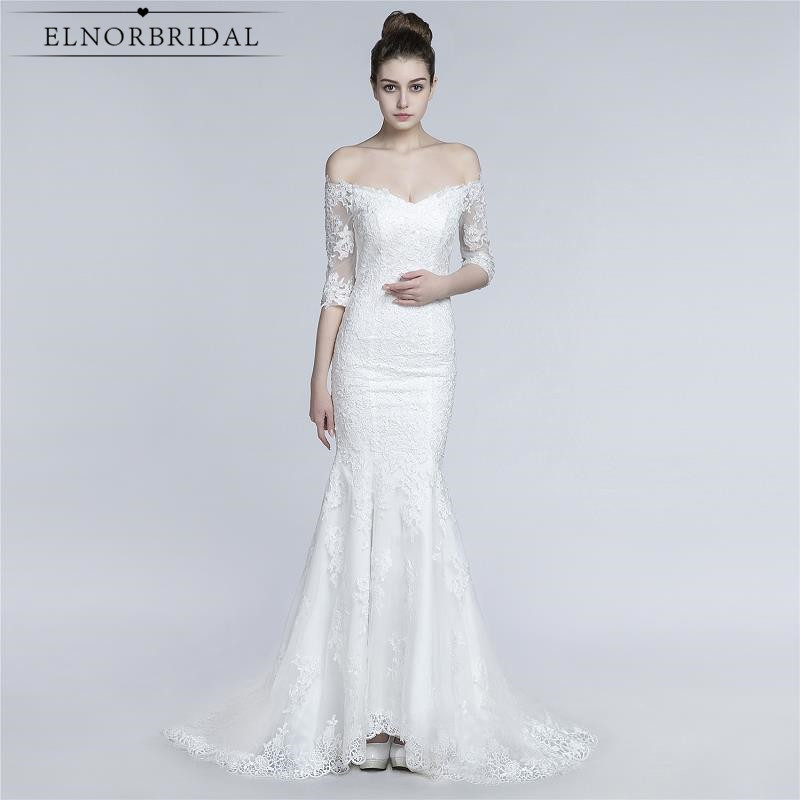 Vintage Lace Mermaid Wedding Dresses With Sleeves 2017 Robe De Mariee Off The Shoulder Handmade Bridal Gowns From China