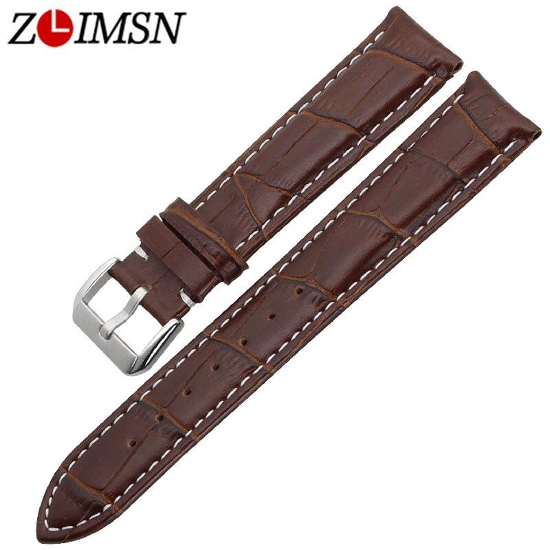 ZLIMSN Genuine Leather Brown Watchband Replacement Watch Band 21mm Men Women Watches Strap все цены