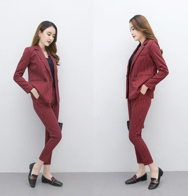 18ab6944673 Business career Work Pant Suits 2 Piece Sets Double Breasted Striped Blazer  Jacket + Pant Office