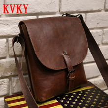 2016 KVKY Famous Brand Designer Crossboyd Bags for Men Leather Shoulder Bag Man Small Business Messenger Bags
