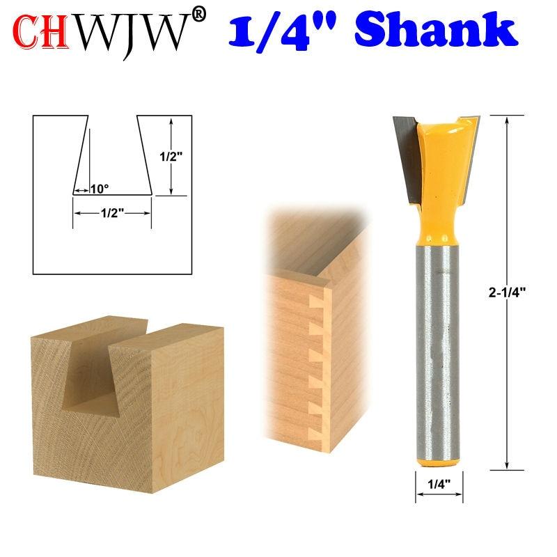 "1pc 10 درجه 1/2 ""Dovetail Joint Router Bit - 1/4"" Shark برش نجاری Tenon Cutter برای ابزارهای نجاری"