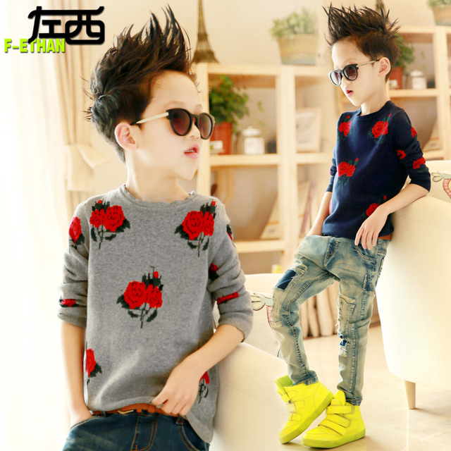Children's clothing spring male child sweater pullover child sweater child 2017 649 bakham