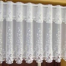 Многоразмерная дверная занавеска s Белый цветок Роза вышивка Короткая занавеска Роскошная половина занавеска для кухни для гостиной ванной комнаты AA53