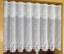 Multi Size Door Curtains White Flower Rose Embroidery Short Curtain Luxury Half Kitchen Curtain For Living Room Bathroom AA53