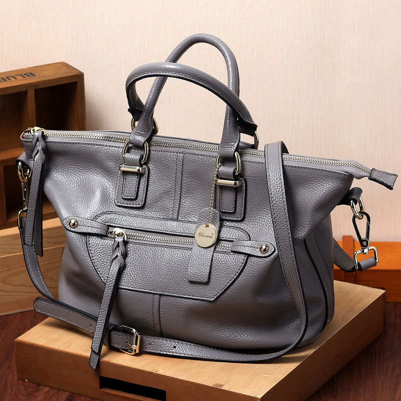 Women Genuine Leather Handbags European and American Style Motorcycle Bag Shoulder Bag For Women Messenger Bags Casual Tote vm fashion kiss european and american leisure straw bags vintage beach bag for women rattan handbags travel tote lunch hand bag
