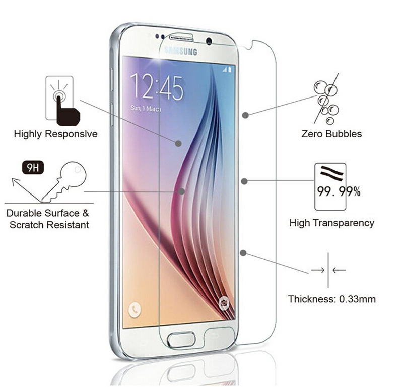 Crystal Clear Toughened Tempered <font><b>Glass</b></font> For <font><b>Samsung</b></font> Galaxy S6 J7 J3 2015 J5 2016 S5 <font><b>S4</b></font> S3 <font><b>Mini</b></font> Shockproof Screen Protector Film image
