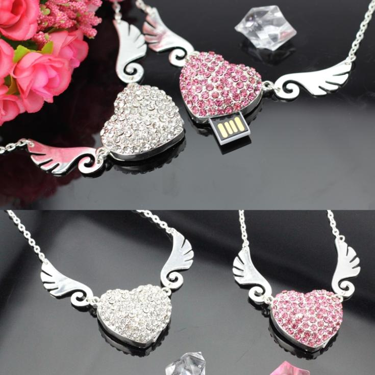 Smycken Heart Diamond USB Flash Drive 512 GB 128 GB Pendrive 64 GB 32 GB 16 GB Minneskort