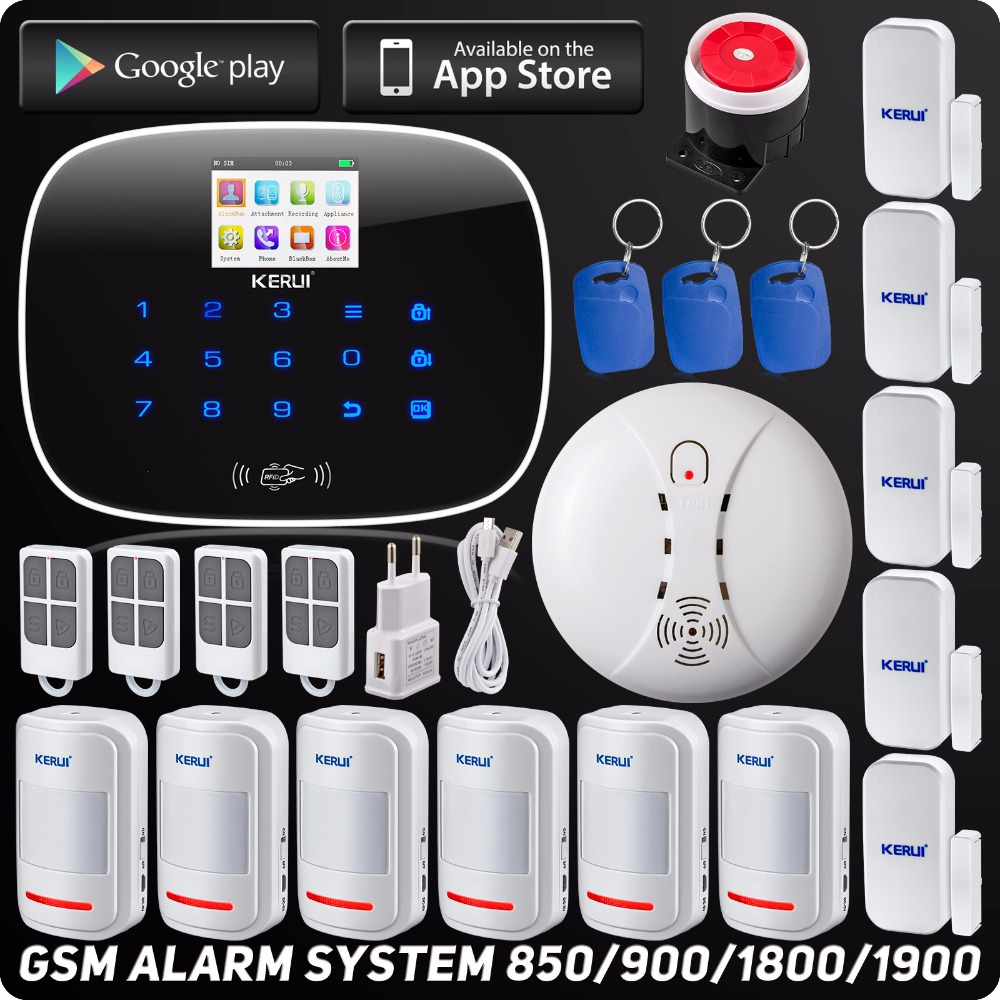 Kerui Wireless Wired GSM Voice Burglar Home House Security Alarm App Control TFT Touch Panel Wireless Smoke Detector Pir Sensor yobangsecurity touch keypad wifi gsm gprs home security voice burglar alarm ip camera smoke detector door pir motion sensor