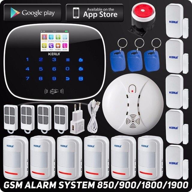 Special Price Kerui Wireless Wired GSM Voice Burglar Home House Security Alarm App Control TFT Touch Panel Wireless Smoke Detector Pir Sensor