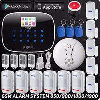 Kerui Wireless Wired GSM Voice Burglar Home House Security Alarm App Control TFT Touch Panel Wireless Smoke Detector Pir Sensor
