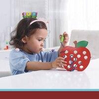 Đồ Chơi trẻ em Giáo Dục Bằng Gỗ Đồ Chơi Câu Đố cho Trẻ Em Early Learning Con Sâu Táo Mặc dây Đồ Chơi Montessori Quà Tặng cho Trẻ Em