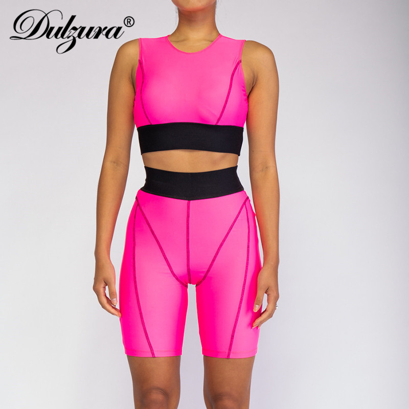 Dulzura 2019 Summer Women Two Piece Set Patchwork Crop Top High Waist Outfits Tracksuit Streetwear Festival Sportswear Clothes