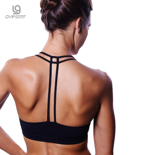 Ovesport Women Sports Bras Padded Running Yoga Bra Sexy Double Strapped Back Bras Fitness Quick Dry Crop Tops Mujer Dropshipping