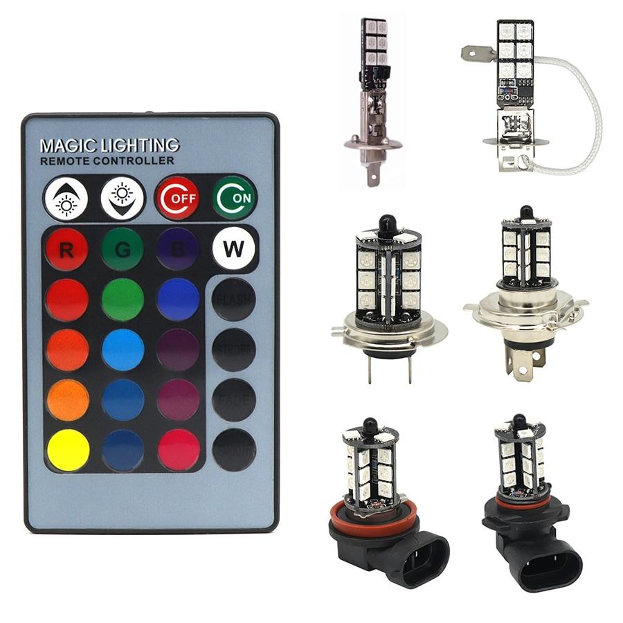 1Set H1 H3 H4 H7 H11 9005 9006 RGB LED Auto Car Headlight 5050 LED Fog Light Head Lamp Bulb With Remote Control Headlight 12v